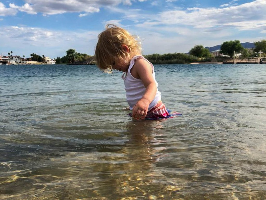 The Baby Girl checking our her feet in the Colorado River