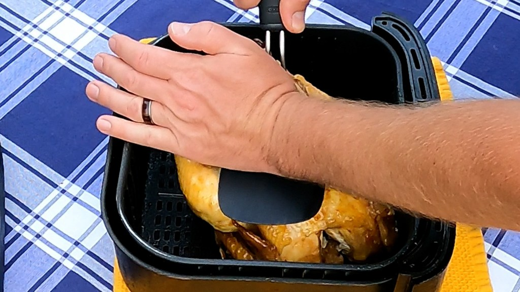 smash the pressure cooked chicken to fit inside of the air fryer basket if needed.