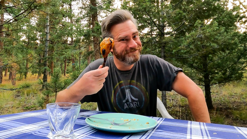 Instant Pot Dave with the last piece of Cantonese apricot chicken