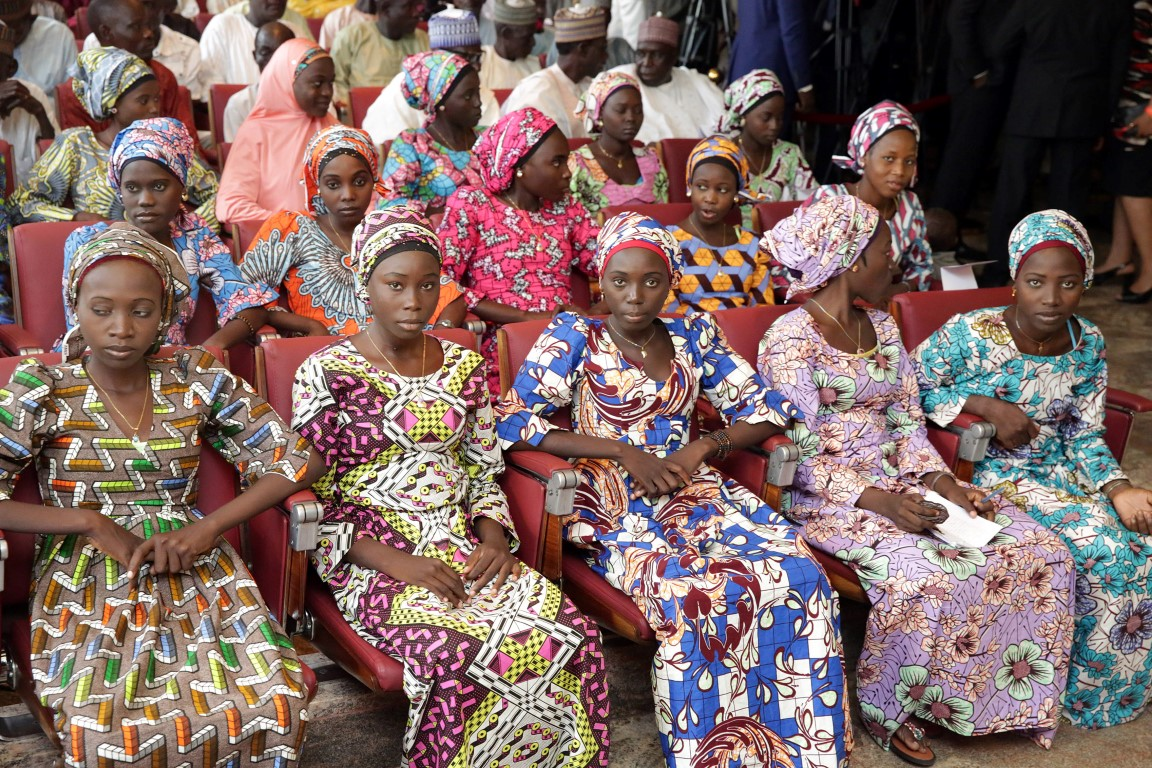 Image result for released chibok girls with buhari