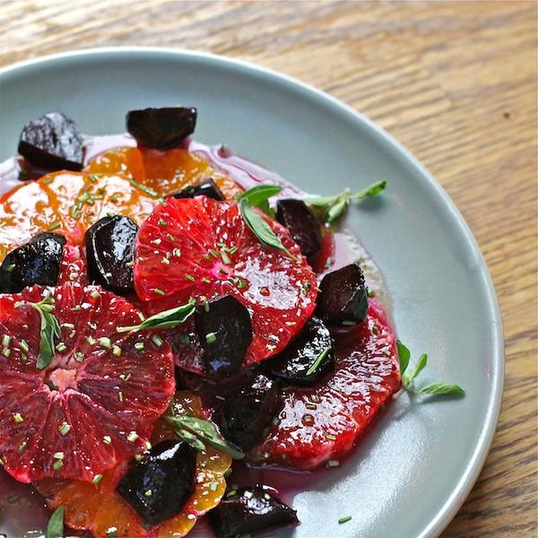 citrus salad with oranges, tangelos, beets, maple vinaigrette
