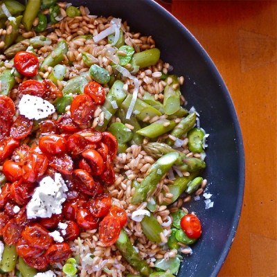 Warm Farro Salad with Spring Vegetables - The Wimpy Vegetarian