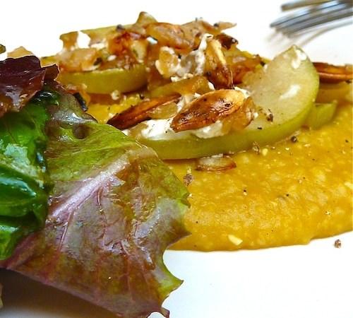 Creamy Pumpkin Polenta & Apple-Feta Crumble