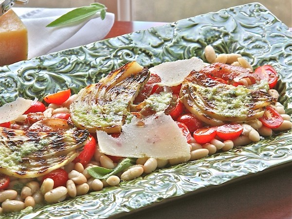 Grilled Fennel and Bean Salad with Lemon Sage Dressing-The Wimpy Vegetarian