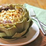 Artichokes Filled with Citrus, Raisin, and Olive Couscous : The Wimpy Vegetarian