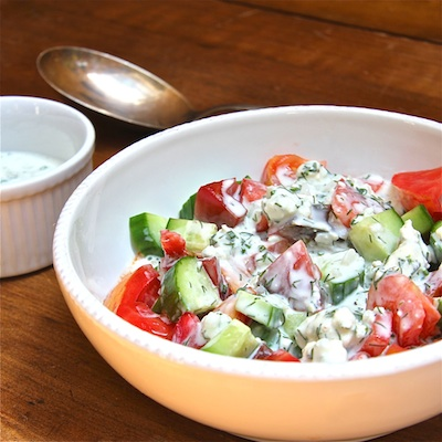 Cucumber and Tomato Salad with Kefir side 400: The Wimpy Vegetarian