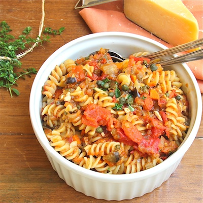 Fusilli with Eggplant Tomatoes and Capers