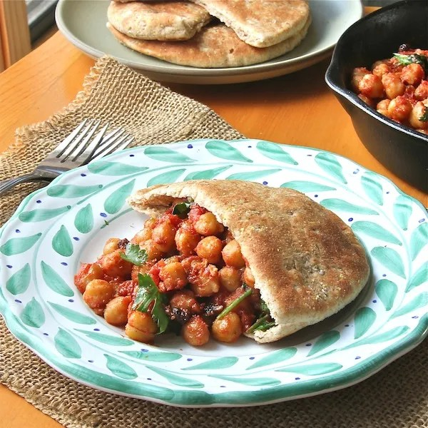 legumes, vegetarian entree, vegan, moroccan chickpea in  pita pockets recipe