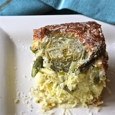 vegetarian egg bake with asparagus, artichokes, for spring brunch, Easter