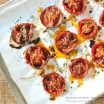 how to slow roast tomatoes, balsamic roasted tomatoes, SundaySupper, The Wimpy Vegetarian, recipe