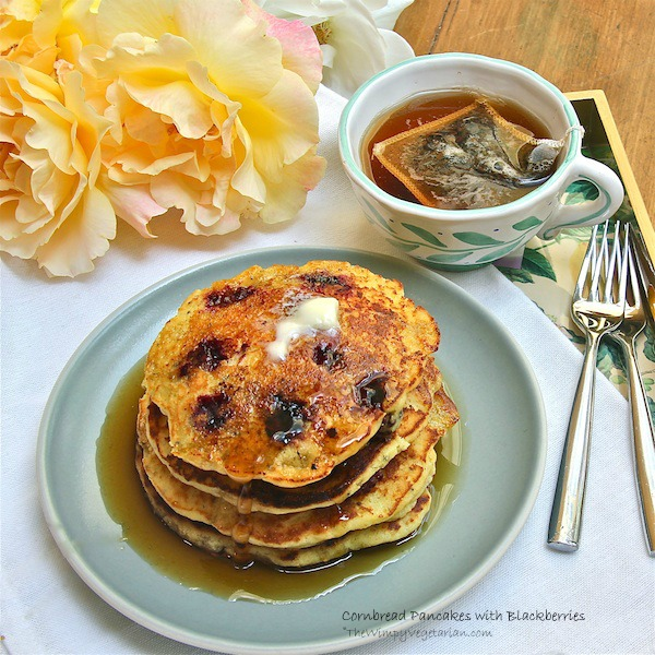 Cornbread Pancakes with Blackberries #brunch, #Mothers Day