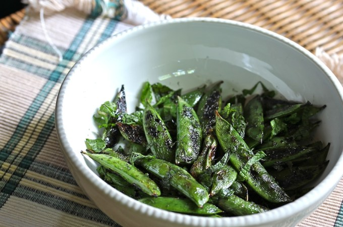 Minty Grilled Snap Peas