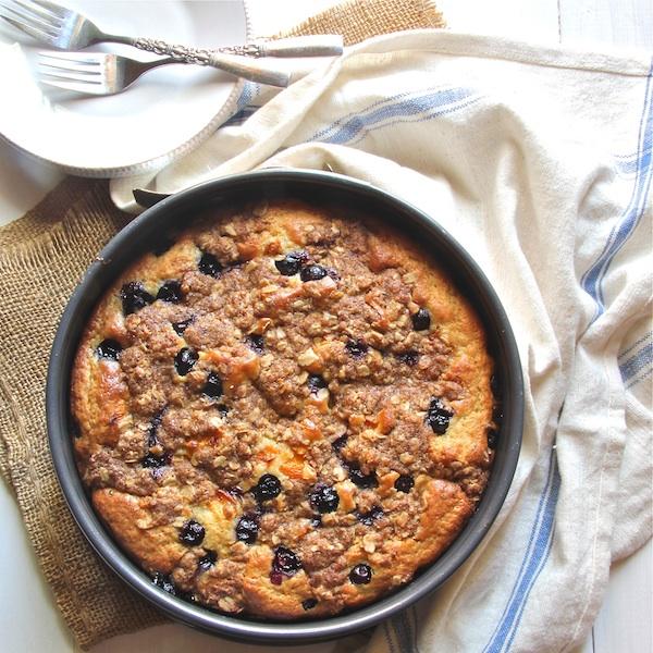 blueberry coffee cake, lightened coffeecake, kid-friendly