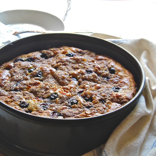 blueberry coffeecake, lightened coffeecake, kid-friendly