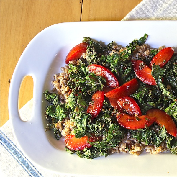 warm ricotta farro salad with grilled kale and plums, vegetarian main dish