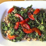 Warm Ricotta Farro with Grilled Kale and Plums, vegetarian main
