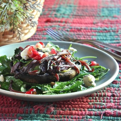 Portabella mushrooms stuffed with cabernet onions and spinach