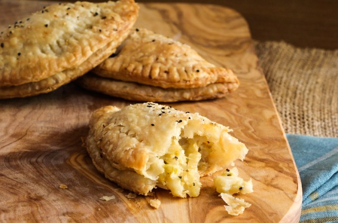 Vegetarian Cornish Pasties filled with celery root, potatoes, and leeks