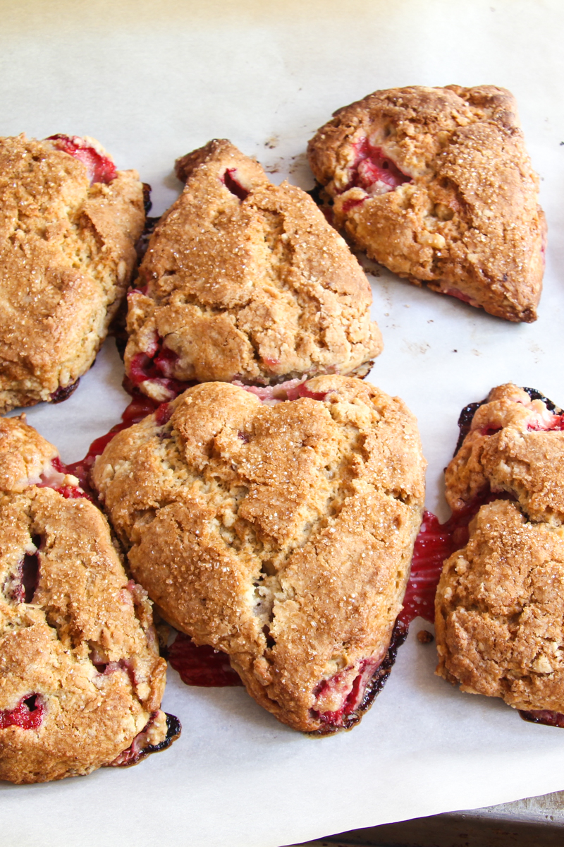 Strawberry buttermilk scones with lemon zest and ginger.