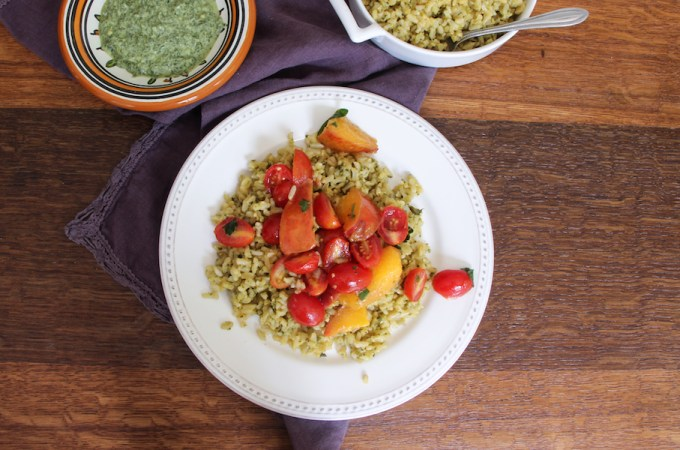 Green Mint Chutney…Tossed in Rice With Tomatoes & Nectarines