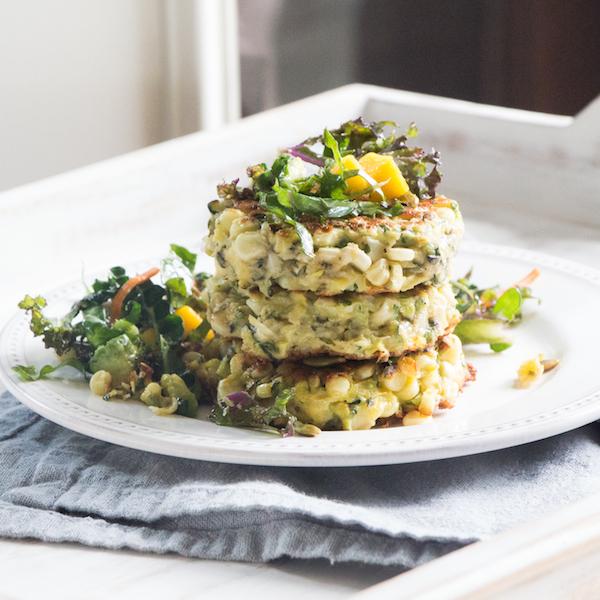 gluten-free corn and zucchini fritters