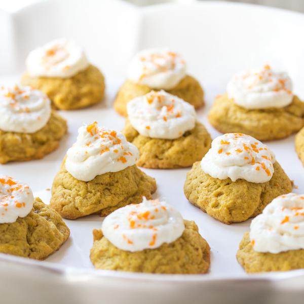 Pumpkin coconut cookies, cream cheese icingP