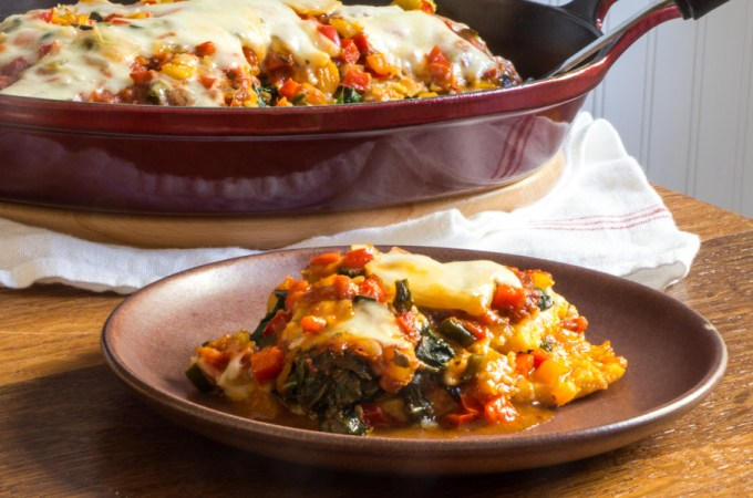 Cheesy Polenta Lasagna with Swiss Chard