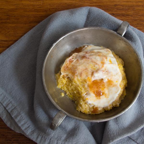 nutmeg infused polenta cake with honey yogurt and peach preserves