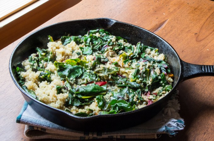 Lemony Swiss Chard Quinoa sauté with fried capers and olives