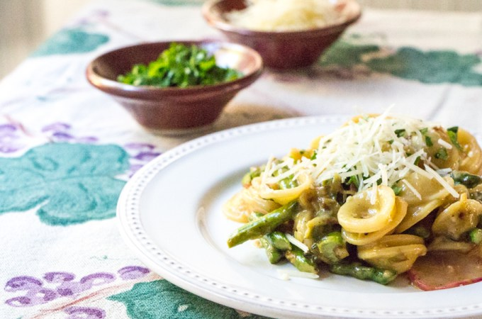 Asparagus Carbonara with Horseradish Crumbs