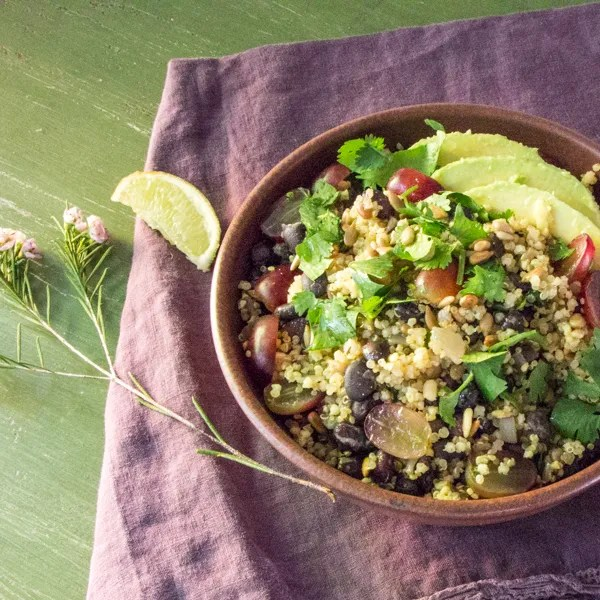 quinoa millet grain salad with black beans and avocados