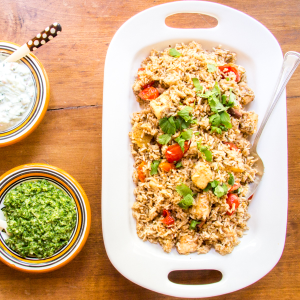 Paneer biryani with cucumber raita and mint chutney