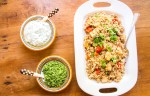 Paneer biryani sautéed with tomatoes, served with cucumber raita and mint chutney. One dish vegetarian meal.