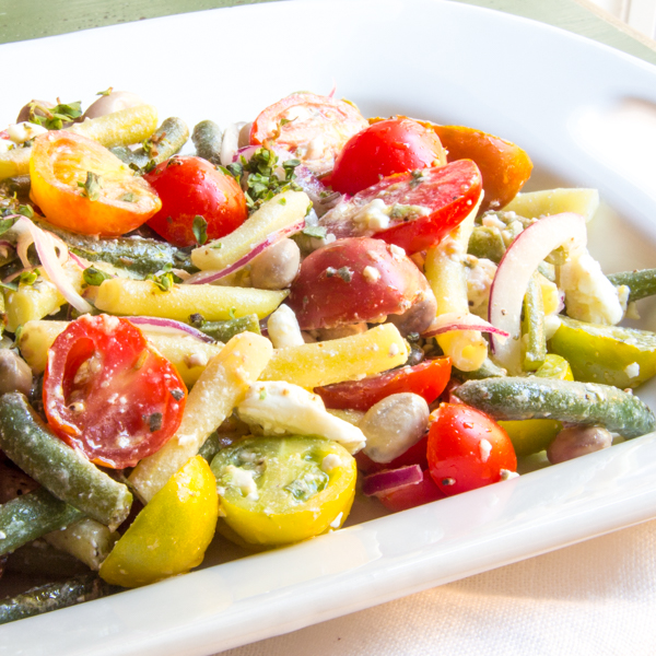 Lemony 3 Bean Salad with Tomatoes
