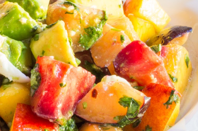 Plum Salad with Avocado and Mozzarella