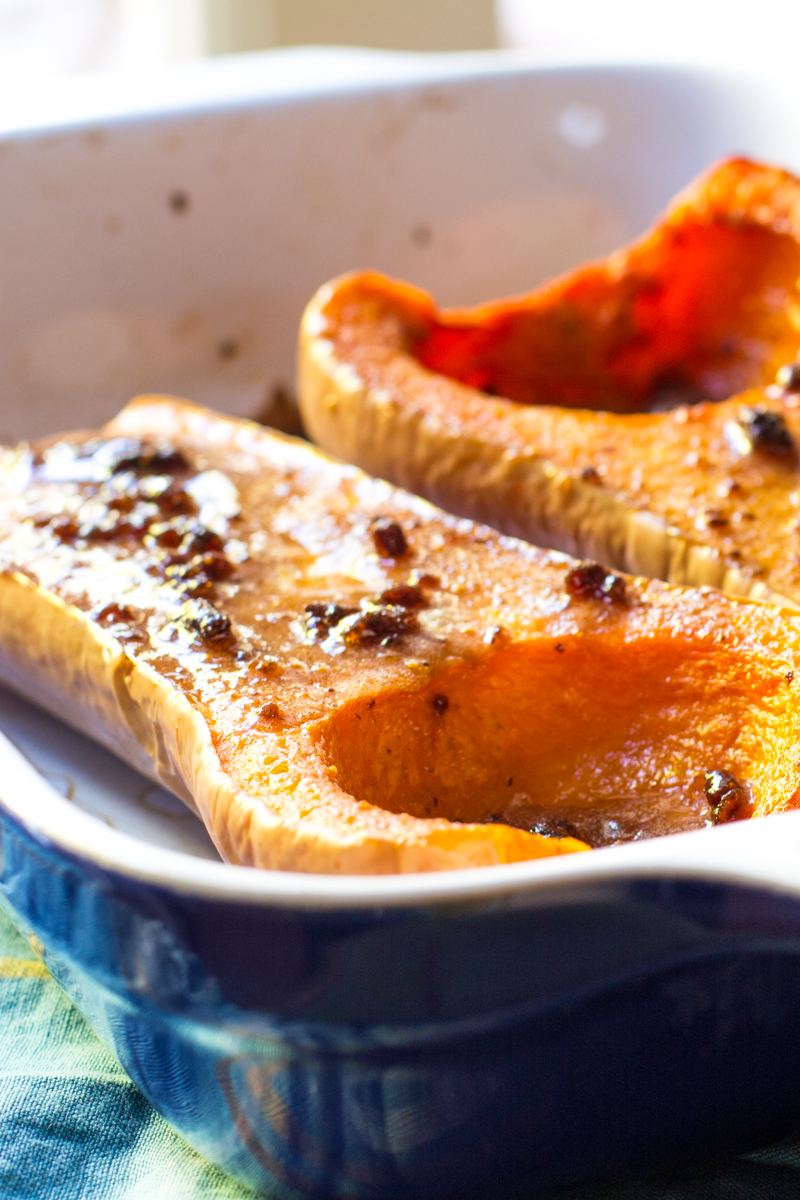 Roasted Butternut Squash Basted with Maple Syrup, Butter and Fig Jam