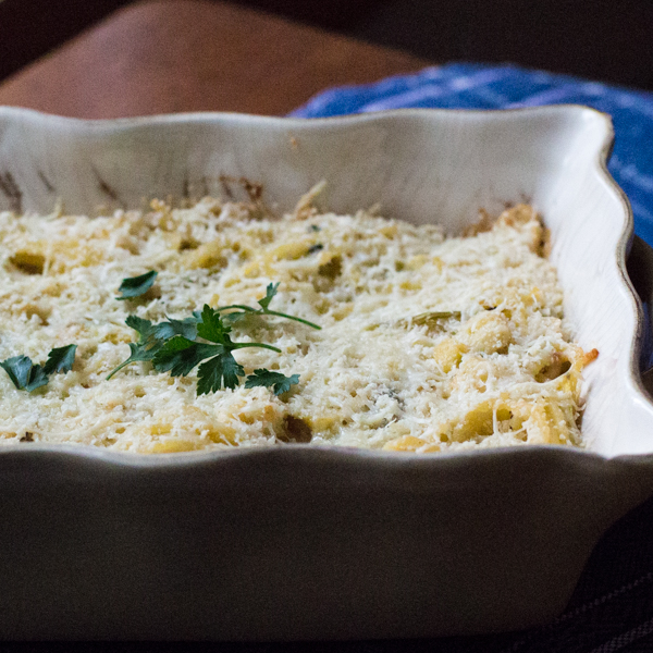 Cauliflower Tetrazzini with Poblano Peppers, lightened with yogurt