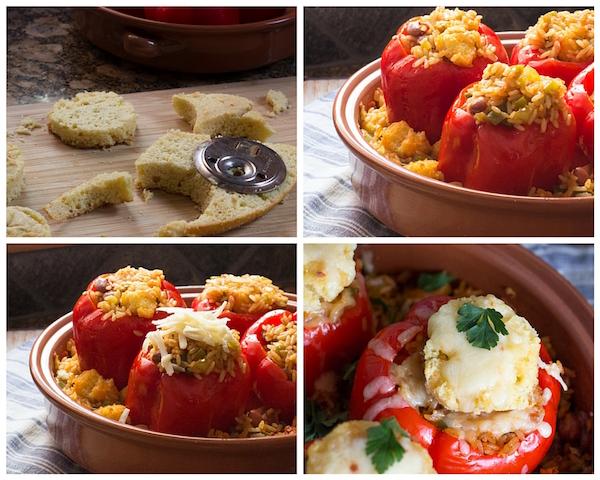 Jambalaya Stuffed Peppers Casserole collage