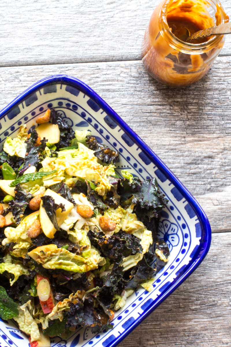 Kale, Napa Cabbage, Apple and Mint Salad with Thai Peanut Butter Dressing