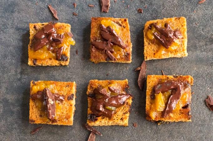Spanish Tapas: Chocolate Toasts with Apricot Jam | #SundaySupper