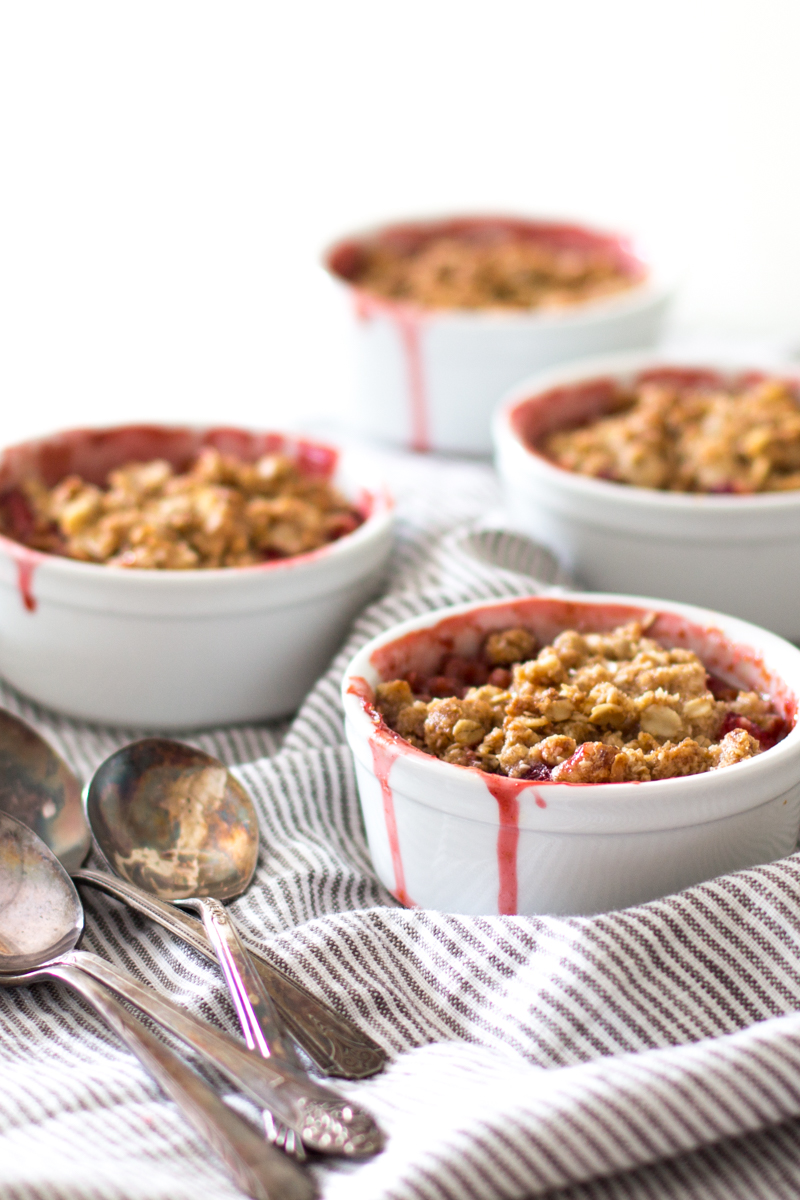 Mini Strawberry Rhubarb Crisps with Coconut