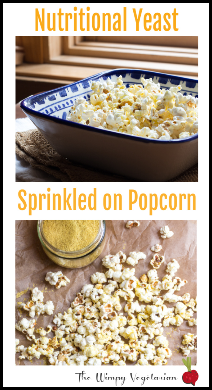 Popcorn tossed with olive oil, your favorite seasoned salt, and nutritional yeast is a healthy snack! #healthyrecipes #healthysnack #popcorn #popcornseasoning #healthypopcorn #nutritionalyeast #easysnack