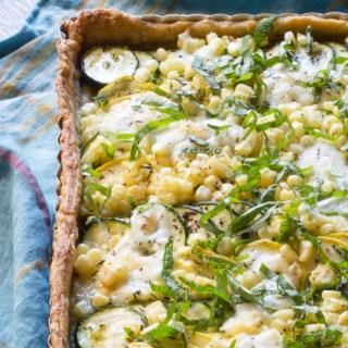 Summer Squash Tart with Corn and Mozzarella