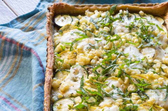 Zucchini and Summer Squash Tart with Corn and Mozzarella | #ProgressiveEats