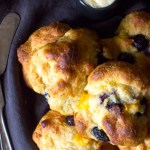 Peach drop biscuits with blueberries - baked with einkorn (ancient flour).