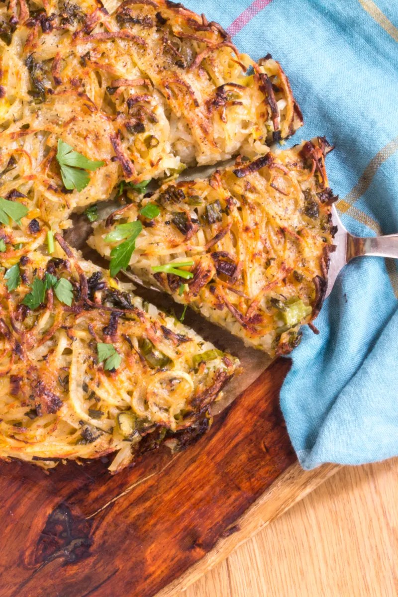 Rosti (hash browns) with Leeks and Broccolini - crispy on the outside, buttery and tender on the inside.