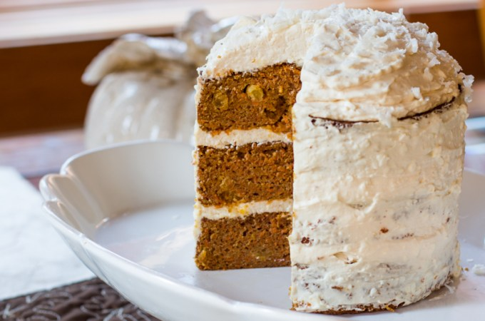 My favorite carrot cake with detailed instructions for assembling a triple-layer cake. The cake includes apple sauce, and is topped with cream cheese, and an optional flurry of coconut flakes.