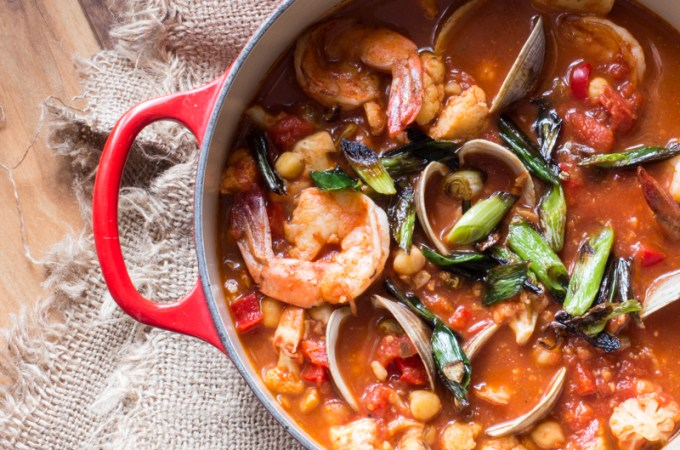 Prawns and Cauliflower in a Tomato-Feta Sauce over Couscous