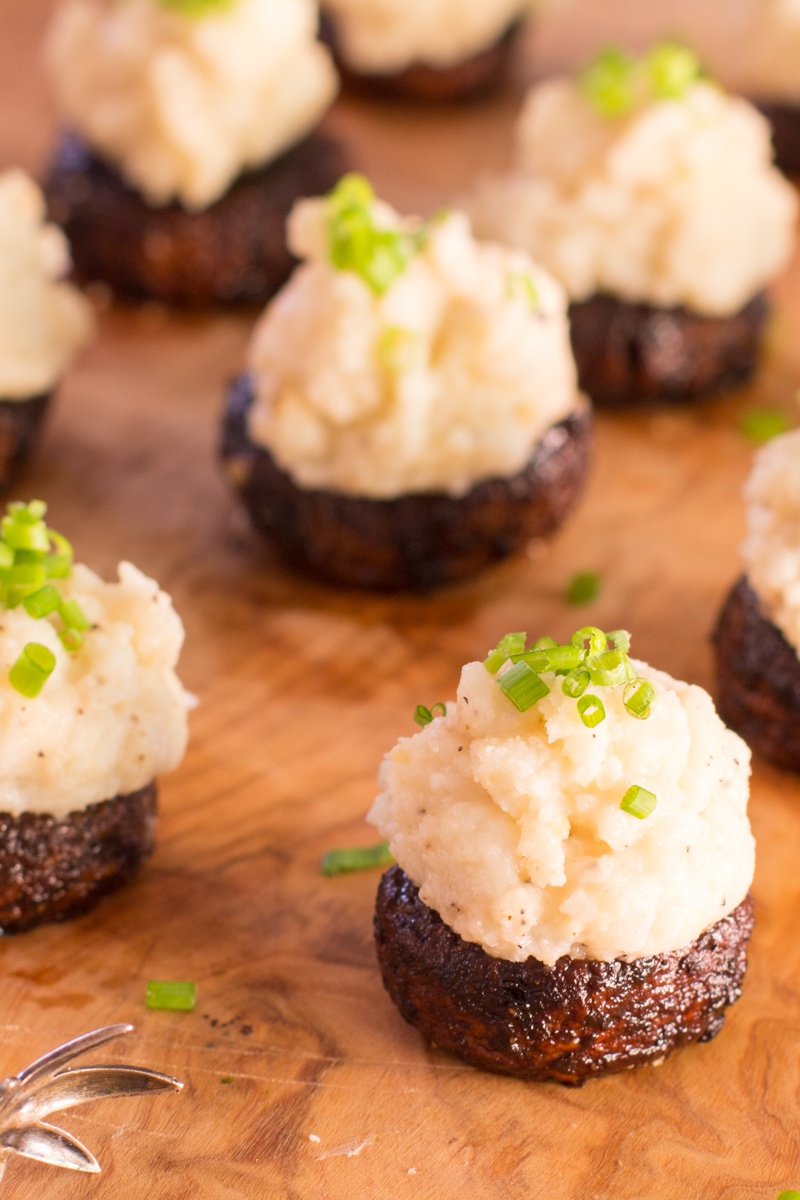 Balsamic Mushrooms Stuffed with Miso Mashed Potatoes