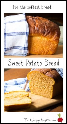 Tender loaf of bread that includes mashed sweet potato, and sweetened with a little honey. Perfect way to get your child to have some sweet potatoes! Recipe found on http://thewimpyvegetarian.com blog. #sweetpotato #sweetpotatobread #bread #highaltitudebaking #wimpyvegetarian